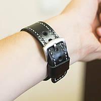Ремешок для наручных часов Revier ручной работы с натуральной итальянской кожи черного цвета