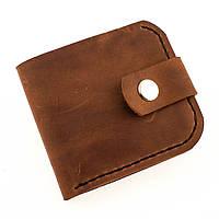 Кожаный кошелек на кнопке из натуральной кожи красный кирпич ручной работы Revier для денег