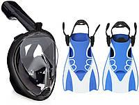 Набор для плавания 2 в 1 (полнолицевая панорамная маска FREE BREATH M2068G + короткие спортивные ласты) Черная маска (размер L/XL); Ласты (размер L)