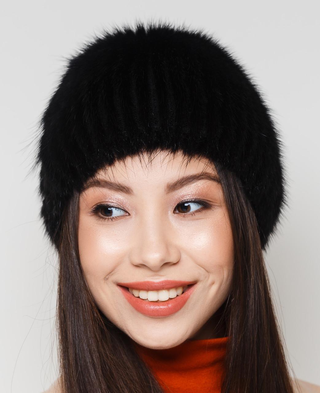 """Жіноча хутрова шапка з ондатри на плетеній основі, Модель """"Камея"""", колір """"Чорний"""""""