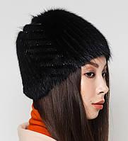 """Жіноча хутрова шапка з ондатри на плетеній основі, Модель """"Камея"""", колір """"Чорний"""", фото 2"""