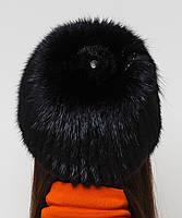 """Жіноча хутрова шапка з ондатри на плетеній основі, Модель """"Камея"""", колір """"Чорний"""", фото 3"""