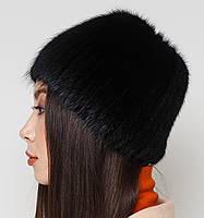 """Жіноча хутрова шапка з ондатри на плетеній основі, Модель """"Камея"""", колір """"Чорний"""", фото 4"""