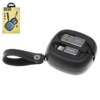 USB дата-кабель Hoco U33, USB тип-A, Lightning, 90 см, выдвижной, 2 А, черный