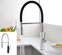 Смеситель кухонный SANTEP 15987 с силиконовым изливом, черно-белый/бело-черный