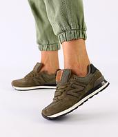 Кроссовки New Balance хаки из натуральной замши с сеткой и черными кожаными вставками