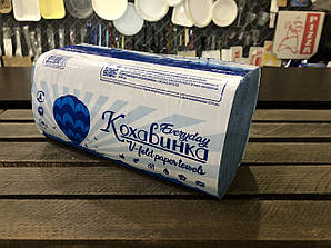 Полотенце бумажное синие 1 слой ZZ сложение 200 шт/уп Кохавинка