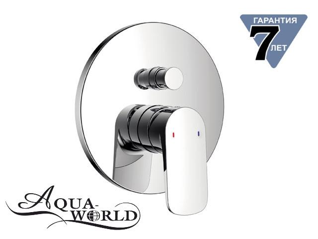 Смеситель для душа с переключателем встраиваемый скрытого монтажа Aqua-World СМ35Лн.14.2в