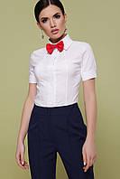 Стильная женская белая рубашка с короткими рукавами, фото 1
