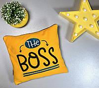 """Детская декоративная плюшевая подушка """"The boss"""", жёлтый"""