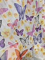 Тюль лен бабочки с розовым