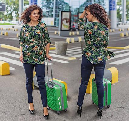 """Стильный женский комплект с брюками в батальных размерах 490 """"Джинс Софт Листья"""""""