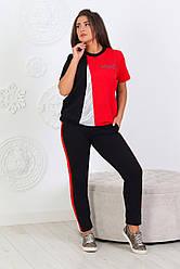 Повседневный женский трикотажный костюмчик футболка + брюки, спортивного стиля размеры 48-56