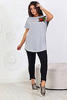 Повседневный женский трикотажный костюмчик футболка + капри штаны, спортивного стиля размеры 48-54