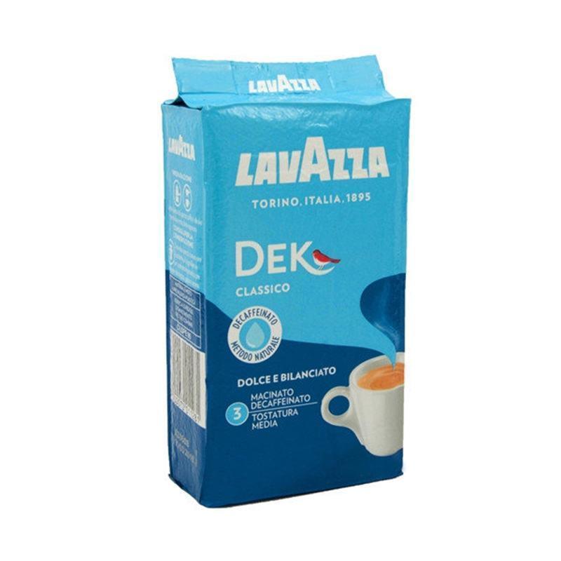 Итальянский кофе без кофеина молотый в вакуумной упаковке Lavazza Dec Classico, 250г, купаж арабики и робусты