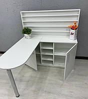 """""""Профи"""" маникюрный стол с большой тумбой и полками для лаков в белом цвете"""
