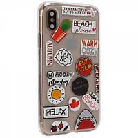 Чехол TTech Stickers TPU Series для Apple iPhone X/Xs Design 13 Transparent