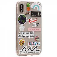Чехол TTech Stickers TPU Series для Apple iPhone X/Xs Design 4 Transparent