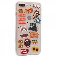 Чехол TTech Stickers TPU Series для Apple iPhone 7 Plus/8 Plus Design 10 Transparent