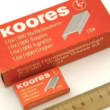 Скобы для степлера канцелярского №10 Koores 10 пачек