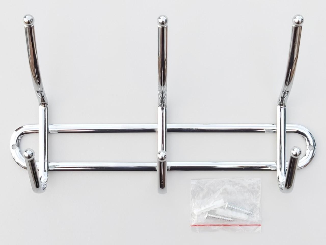 Длина 26 см. Вешалка настенная ВНК3 металлическая хромированная на 3 крючка