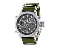 Мужские часы AMST Silver-Black Green Wristband, военные часы, армейские часы