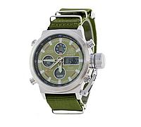Мужские часы AMST Silver-Green Green Wristband, военные часы, армейские часы
