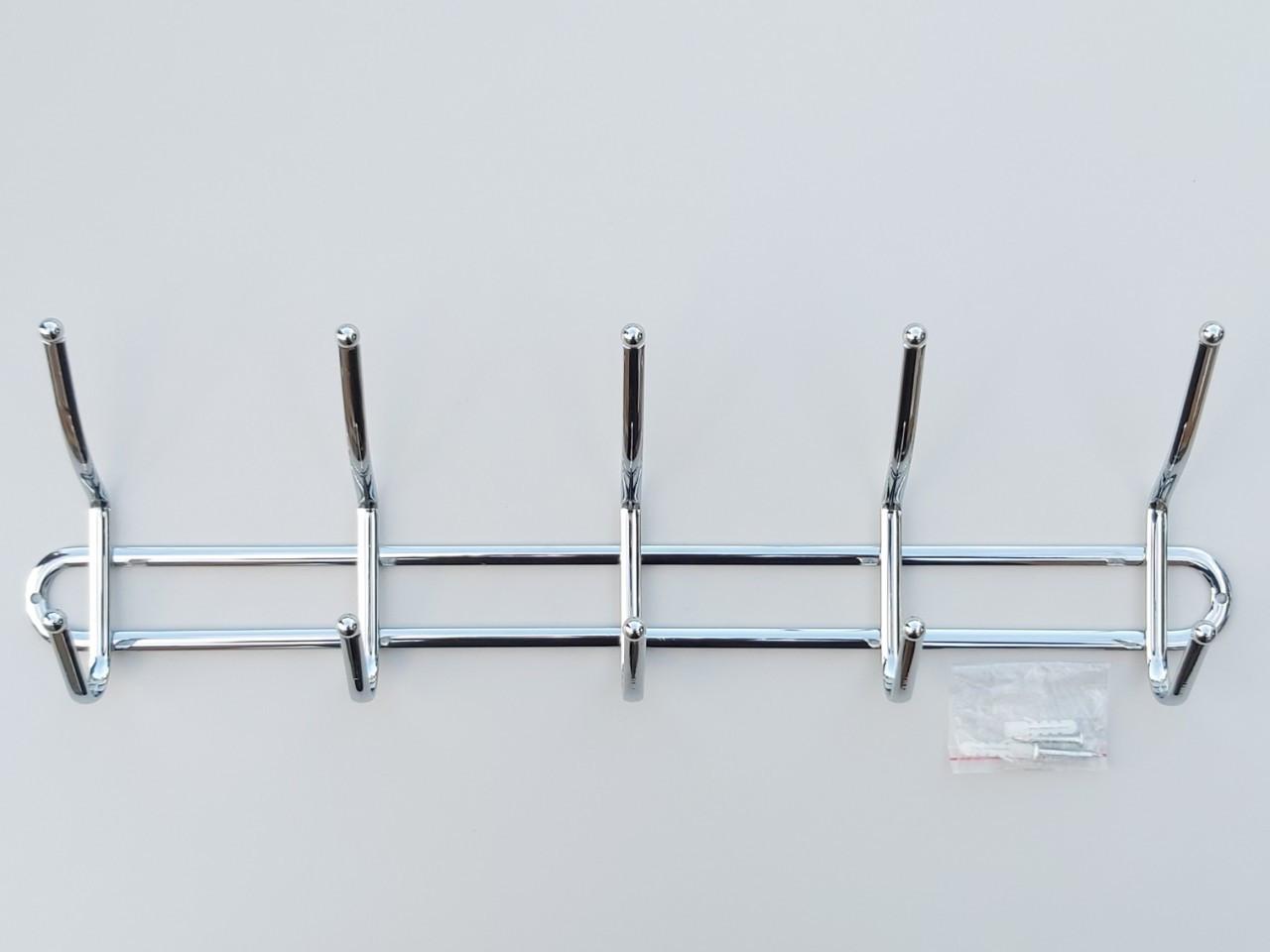 Длина 46 см. Вешалка настенная ВНК5 металлическая хромированная на 5 крючков