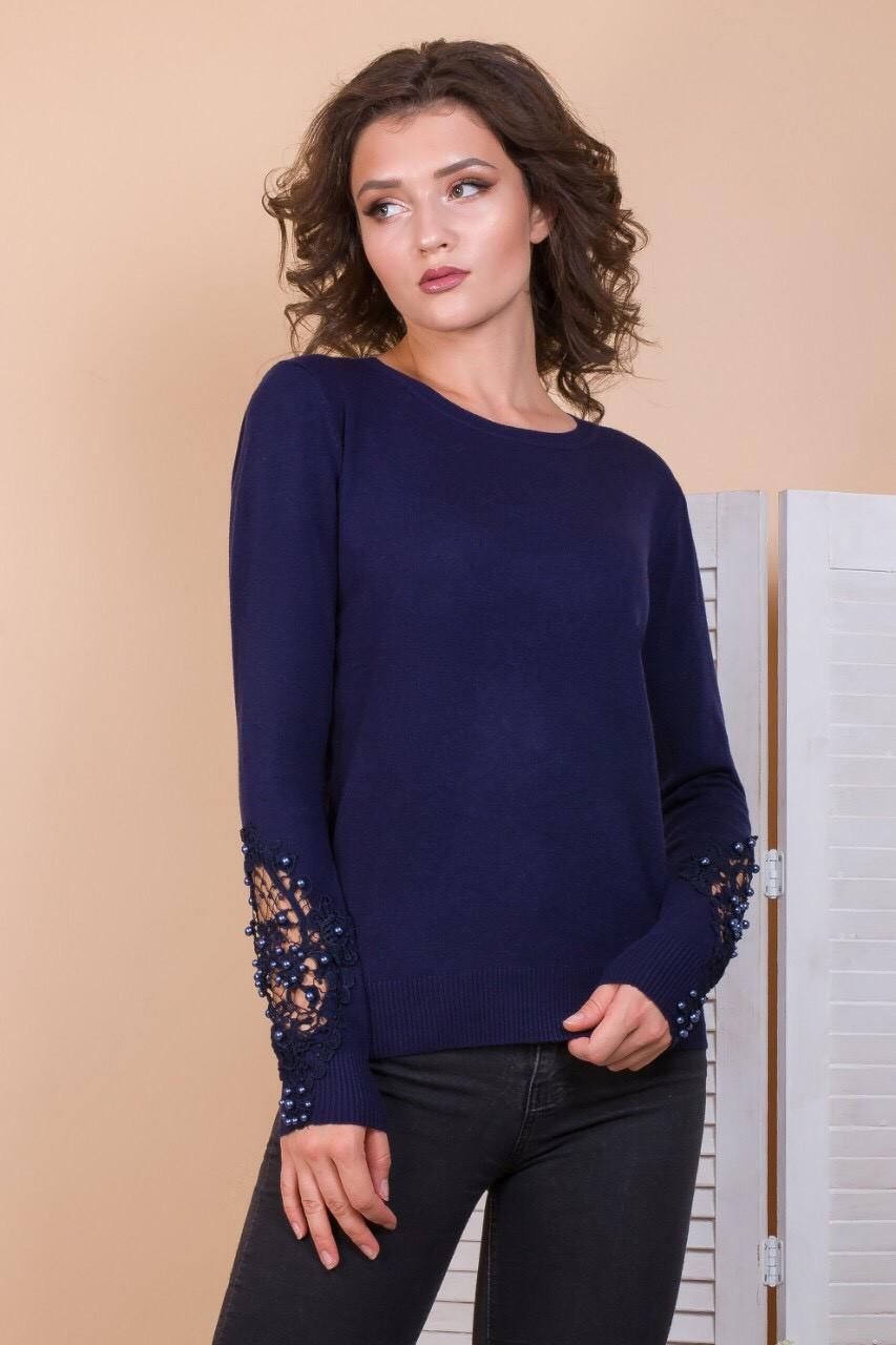 Пуловер с кружевом на рукавах 46-48 (в расцветках)