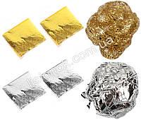 Наполнитель для слаймов – поталь золотая и серебряная (4 листа по 9см), добавки в слайм, фото 1