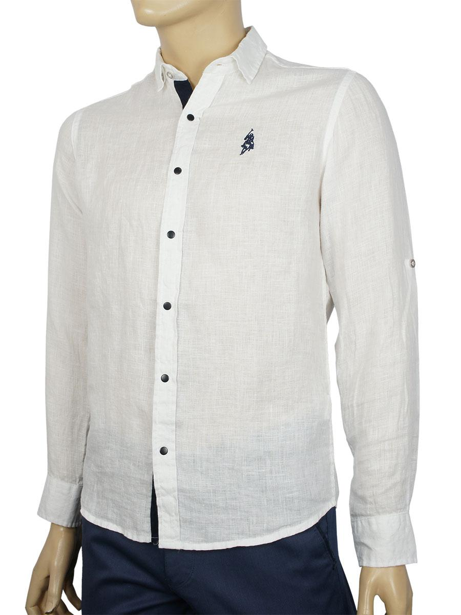 Белая мужская льняная рубашка Class Polo К:142-1000 White
