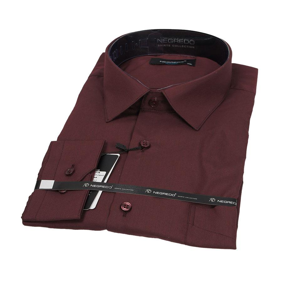 Классическая мужская рубашка в бордовом цветк Negredo 26073 Classic