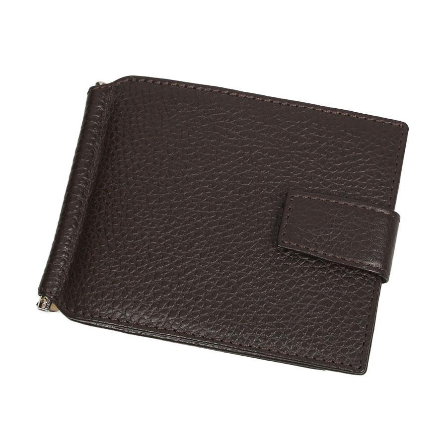 Мужской кожаный зажим для денег Canpellini 074-14 brown коричневого цвета