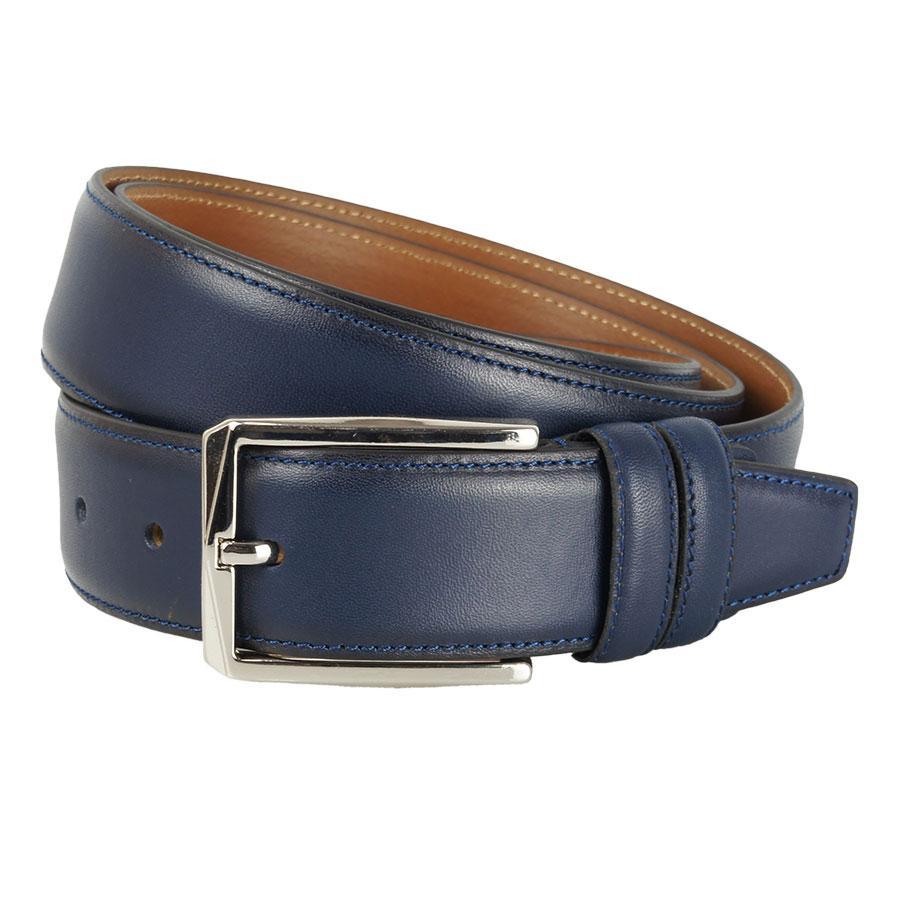 Синий кожаный мужской ремень Bond 11800