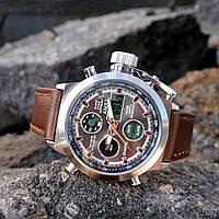 Мужские часы AMST Silver-Black Brown Wristband, военные часы, армейские часы
