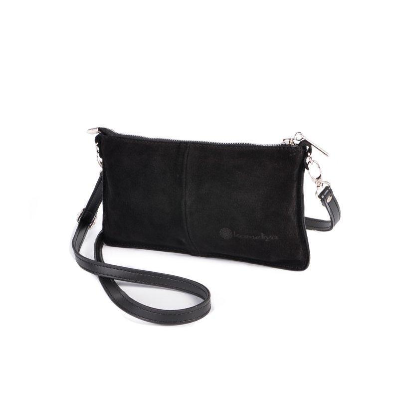 Замшевый женский клатч! Черная маленькая сумочка М228-замш/34 кросс-боди из натуральной замши