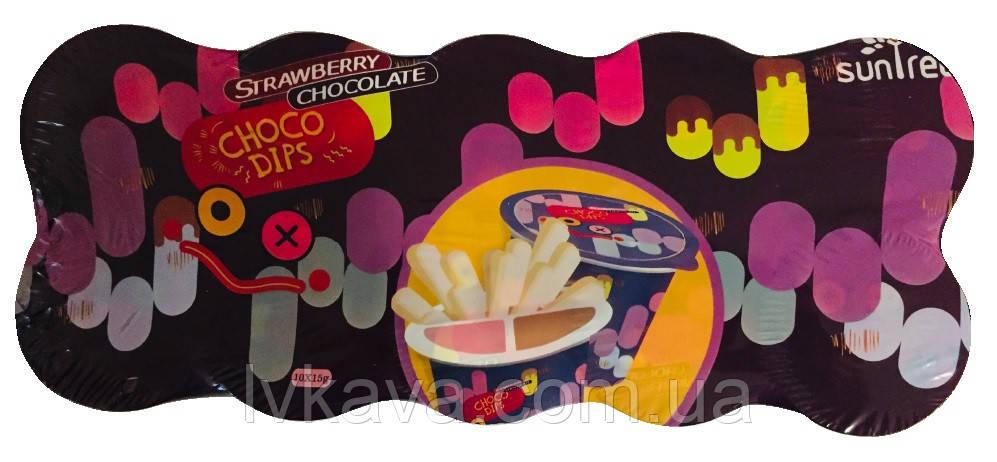 Шоколадно-клубничная паста с хрустящими палочками Choco Dips Prestige, 15 гр x 10 шт
