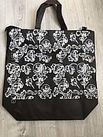 Эко-сумка с молнией (шоппер) коричневая 39,5*40*11 см