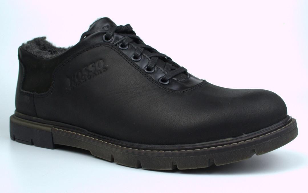 Зимние туфли больших размеров на меху черные мужские кожаные Rosso Avangard Ragn Asfa Black BS
