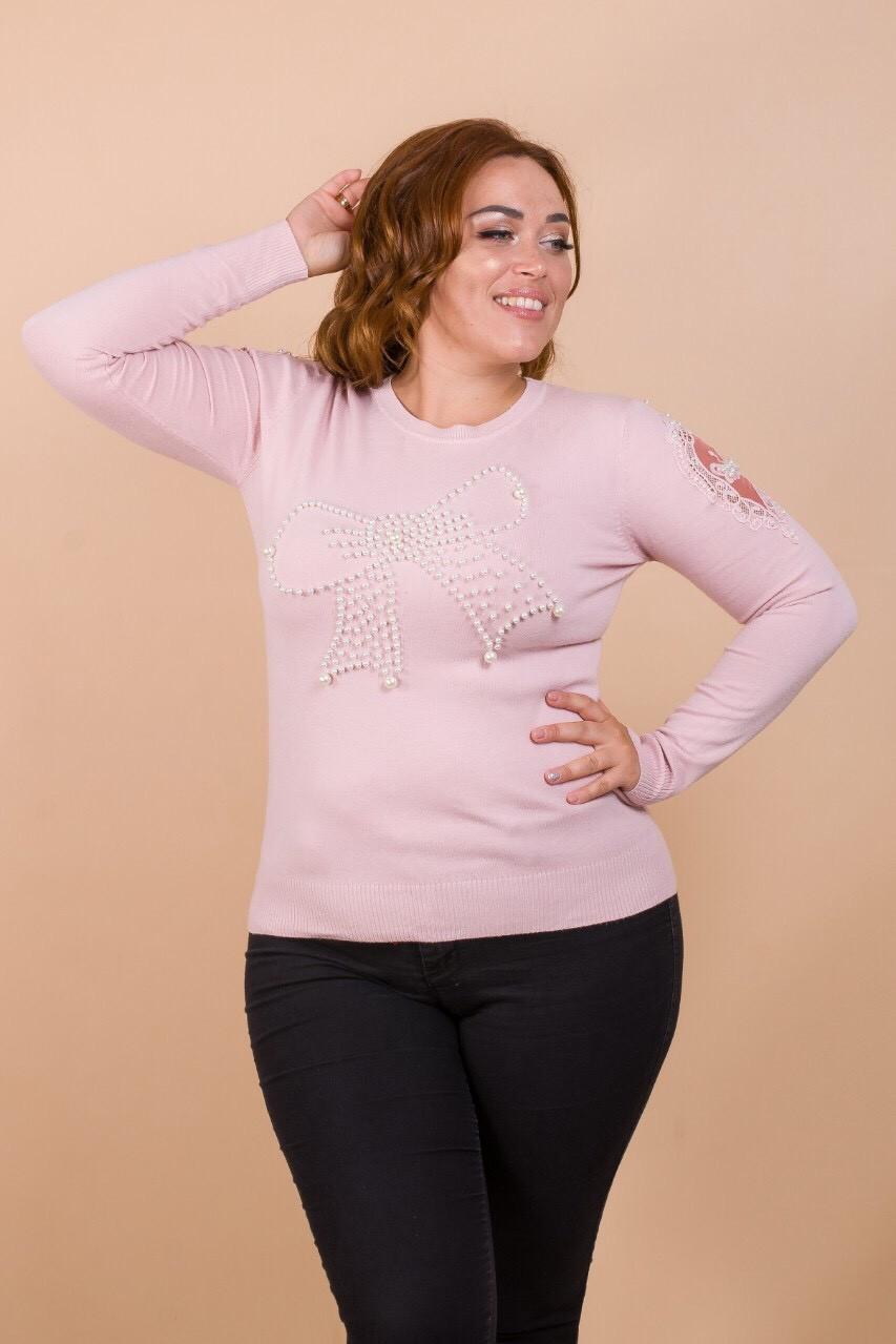 Женский пуловер с крупным бантом (46-48)