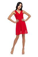 (XS) Нарядное платье красного цвета с открытой спиной