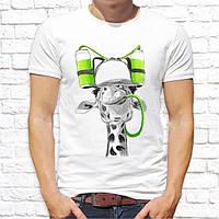 Мужская футболка Push IT с принтом Жираф с напитками
