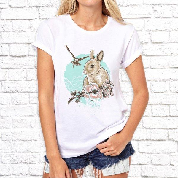 Женская футболка Push IT с принтом Заяц и цветы