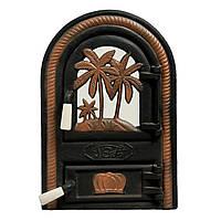 Чугунная дверца для печей, каминов Пальма со стеклом