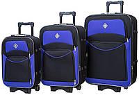 Набор тканевых дорожных чемоданов на колесах Bonro Style 3 штуки черно-фиолетовый
