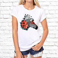 Жіноча футболка з принтом Зебра з квітами Push IT
