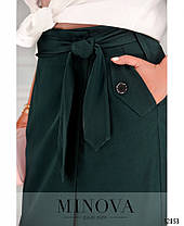 Строгая прямая женская юбка на запах батал с 50 по 56 размер, фото 2