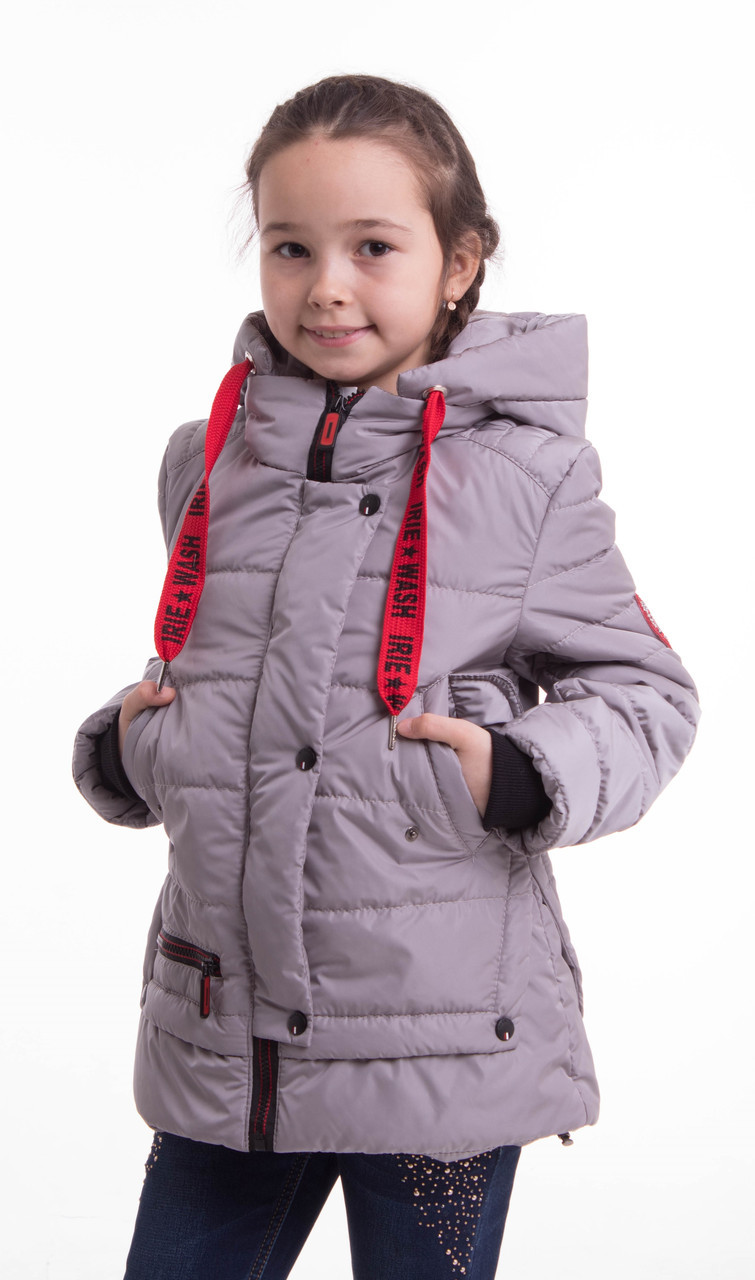 Демисезонная куртка на подростка девочка    34-42 серый
