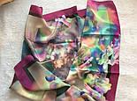 10080-15, павлопосадский шейный платок (крепдешин) шелковый с подрубкой, фото 6