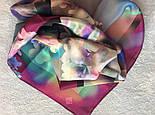 10080-15, павлопосадский шейный платок (крепдешин) шелковый с подрубкой, фото 8